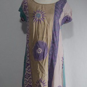VTG Hary Dary Boho Bohemian Batik Midi Dress Small